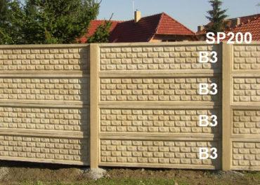 Betonový plot B3,B3,B3,B3,SP200