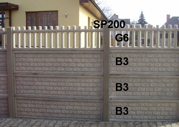 Betonový plot B3,B3,B3,G6,SP200