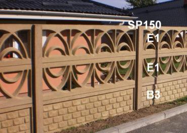 Betonový plot B3,E1,E1,SP150