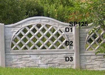 Betonový plot D3,D2,D1,SP125