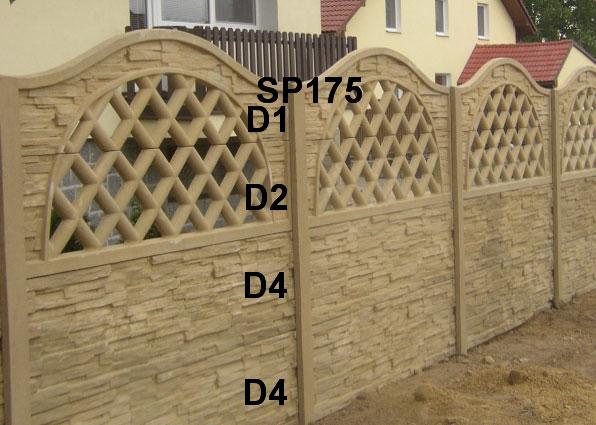 Betonový plot D4,D4,D2,D1,SP175