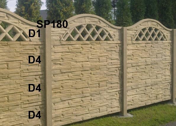 Betonový plot D4,D4,D4,D1,SP180