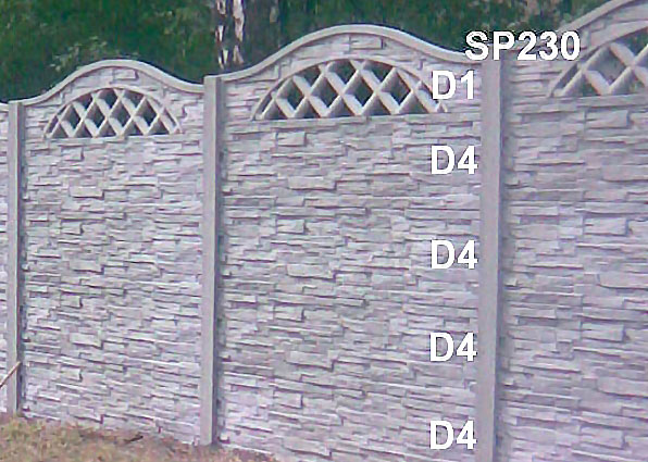 Betonový plot D4,D4,D4,D4,D1,SP230
