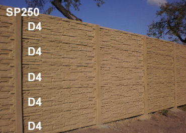 Betonový plot D4,D4,D4,D4,D4,SP250