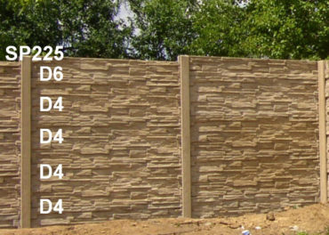 Betonový plot D4,D4,D4,D4,D6,SP225