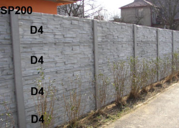 Betonový plot D4,D4,D4,D4,SP200