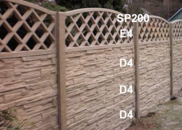 Betonový plot D4,D4,D4,E4,SP200