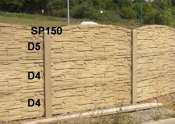 Betonový plot D4,D4,D5,SP150