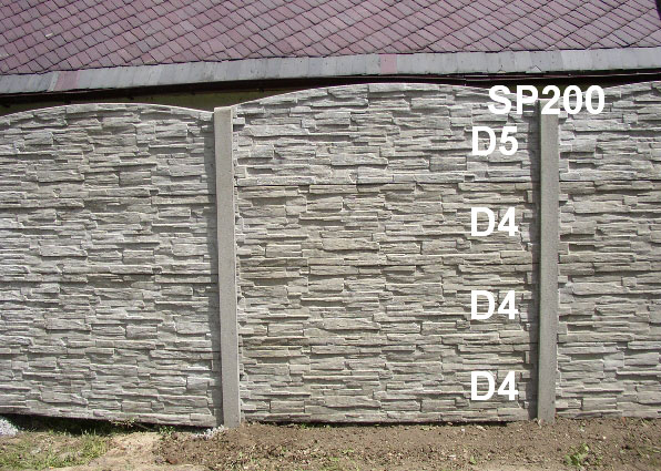 Betonový plot D5,D4,D4,D4,SP200