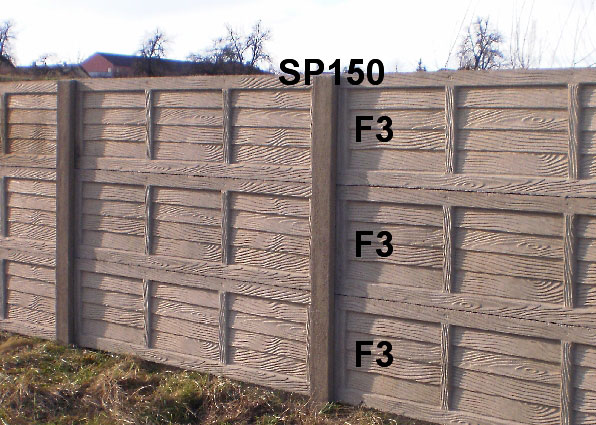 Betonový plot F3,F3,F3,SP150