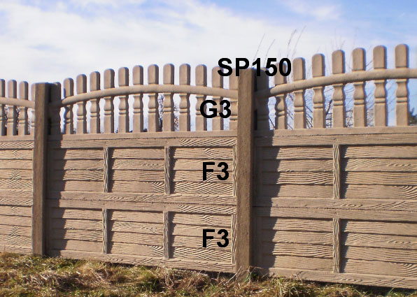 Betonový plot F3,F3,G3,SP150