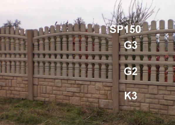 Betonový plot G3,G2,K3,SP150