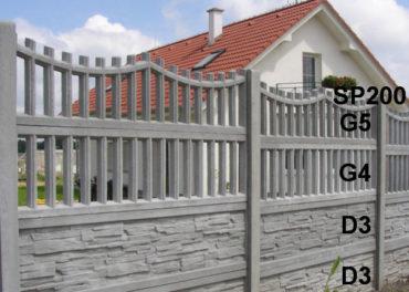 Betonový plot G5,G4,D3,D3,SP200
