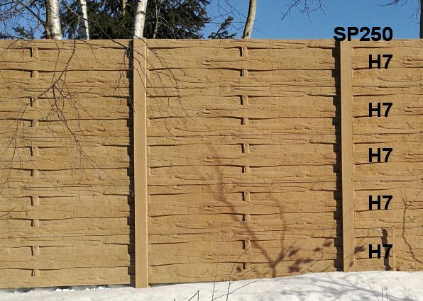 Betonový plot H7,H7,H7,H7,H7,SP250