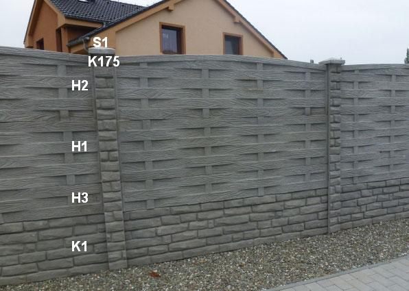 Betonový plot K1,H3,H1,H2,K175,S1