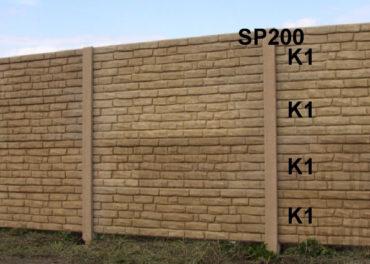 Betonový plot K1,K1,K1,K1,SP200