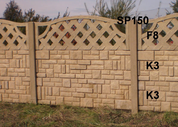 Betonový plot K3,K3,F8,SP150
