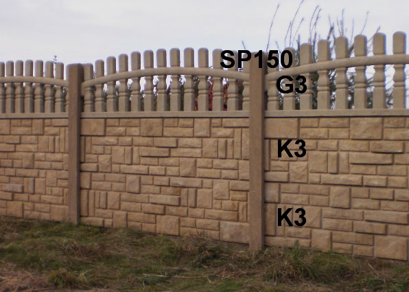 Betonový plot K3,K3,G3,SP150