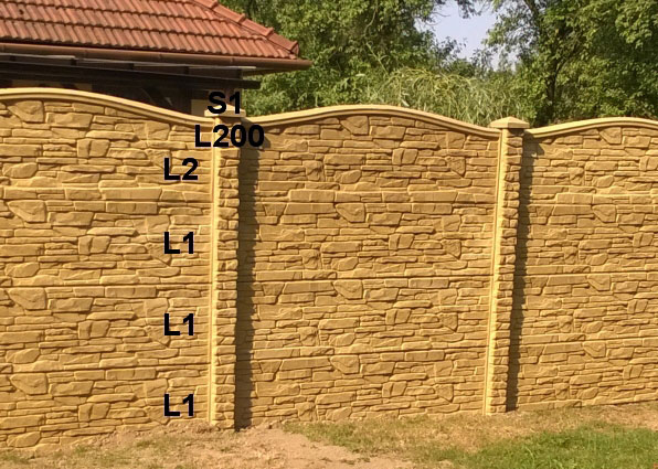 Betonový plot L1,L1,L1,L2,L200,S1