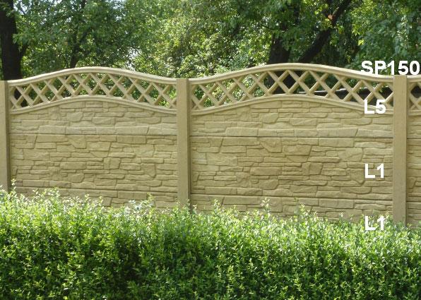 Betonový plot L1,L1,L5,SP150